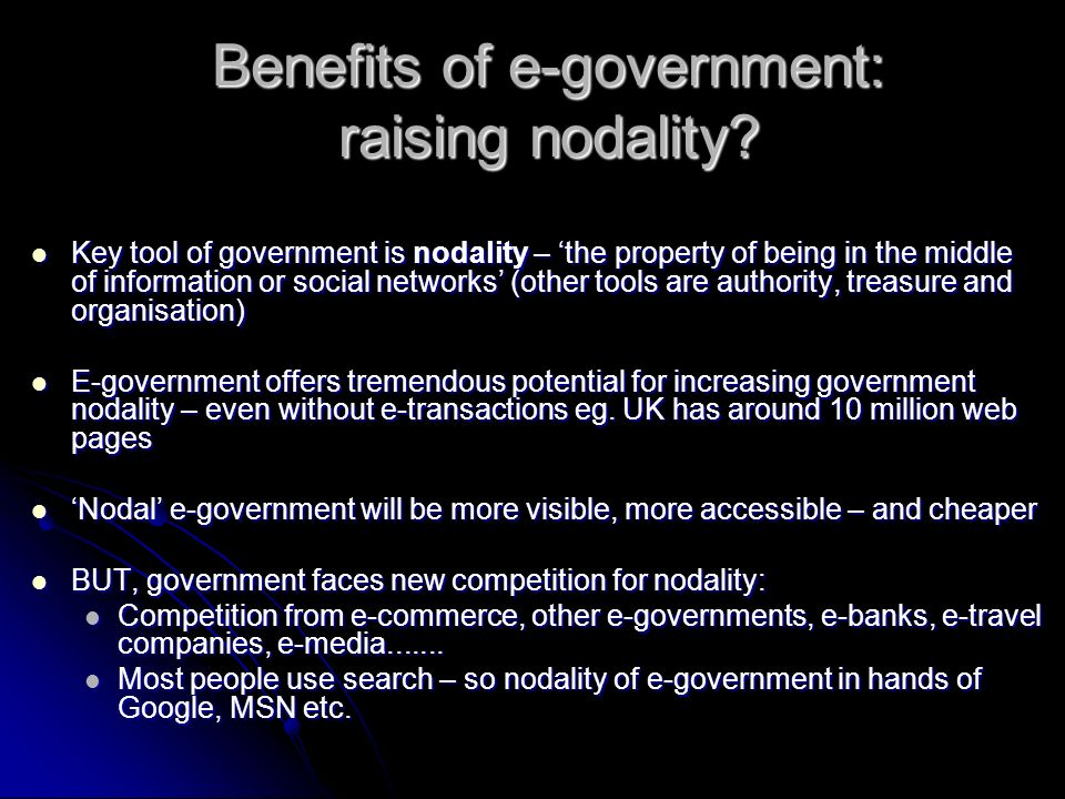 Benefits of e-government: raising nodality.