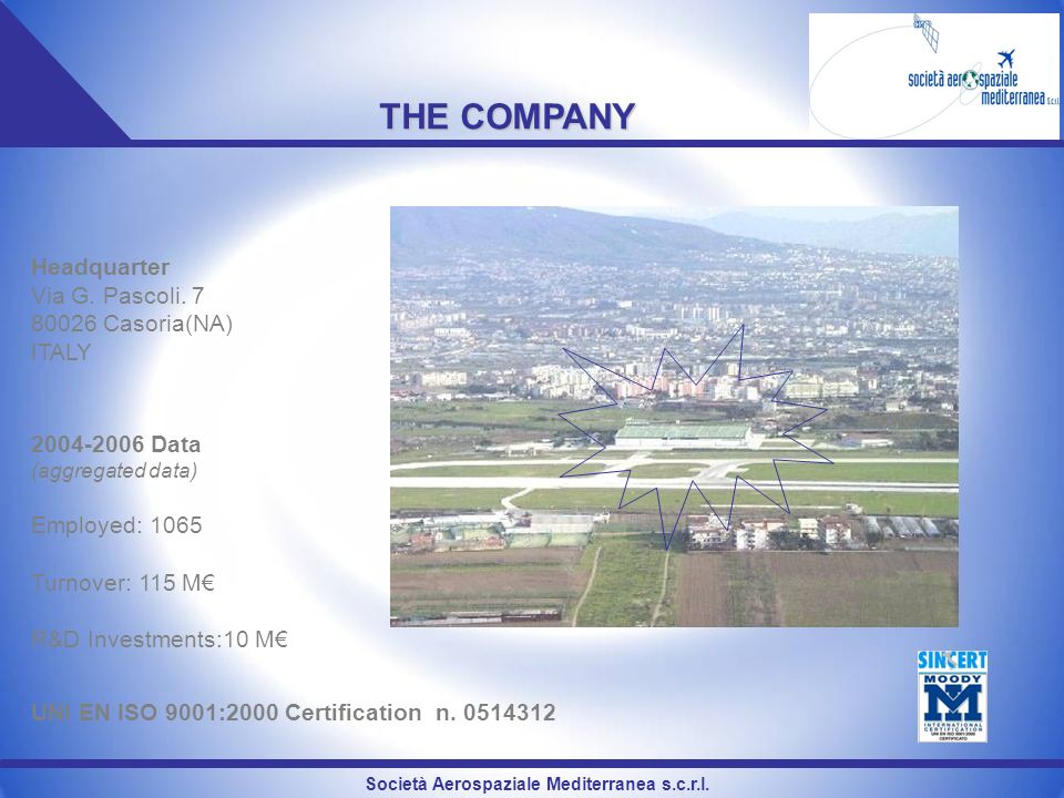 THE COMPANY Headquarter Via G. Pascoli. 7 80026 Casoria(NA) ITALY 2004-2006 Data (aggregated data) Employed: 1065 Turnover: 115 M R&D Investments:10 M