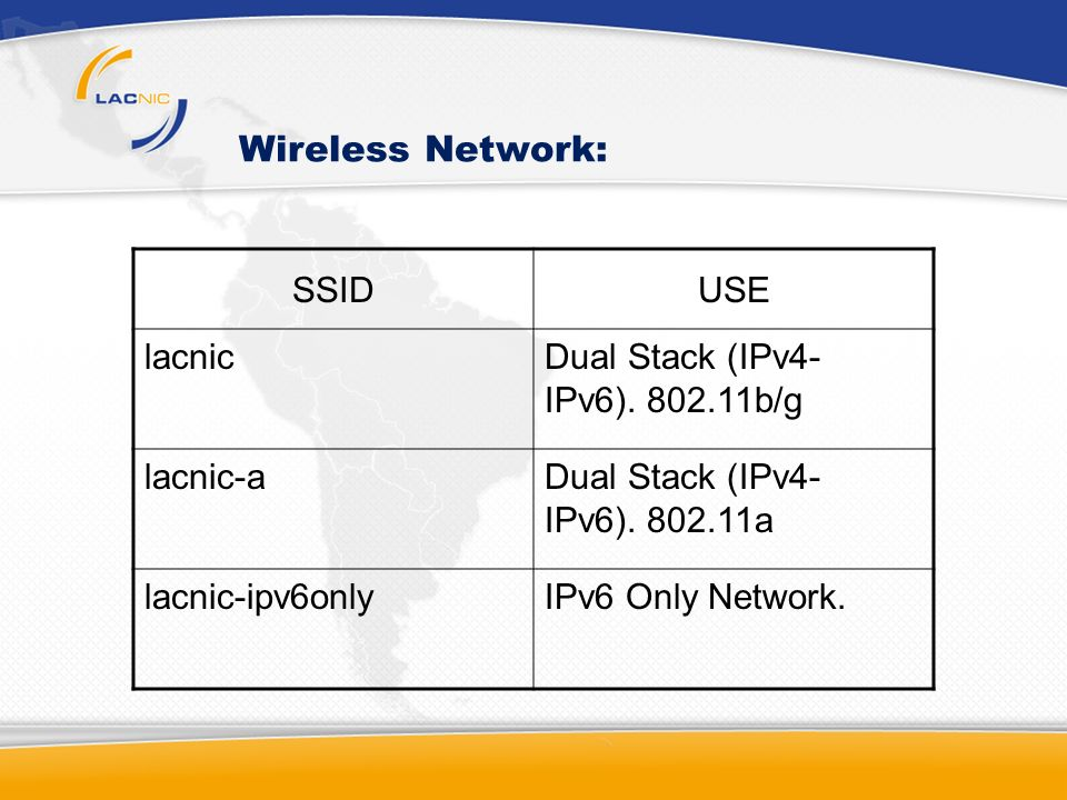 Wireless Network: SSIDUSE lacnicDual Stack (IPv4- IPv6).