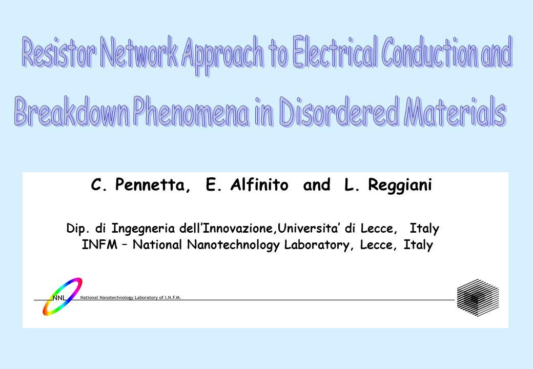 C. Pennetta, E. Alfinito and L. Reggiani Dip. di Ingegneria dellInnovazione,Universita di Lecce, Italy INFM – National Nanotechnology Laboratory, Lecc