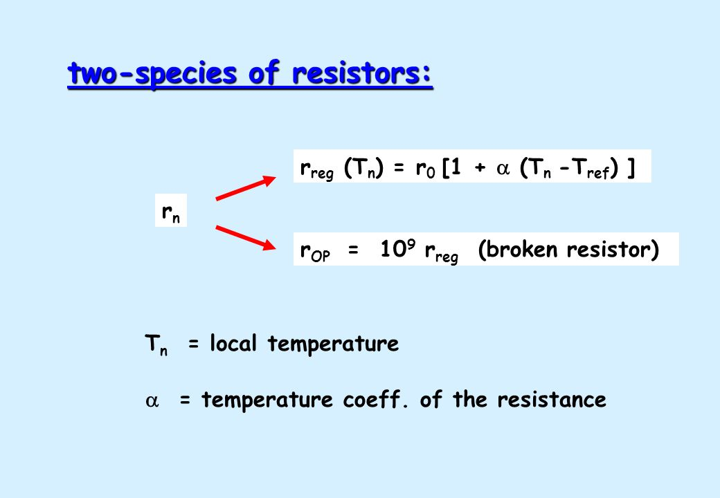= temperature coeff. of the resistance two-species of resistors: rnrn r OP = 10 9 r reg (broken resistor) r reg (T n ) = r 0 [1 + (T n -T ref ) ] T n