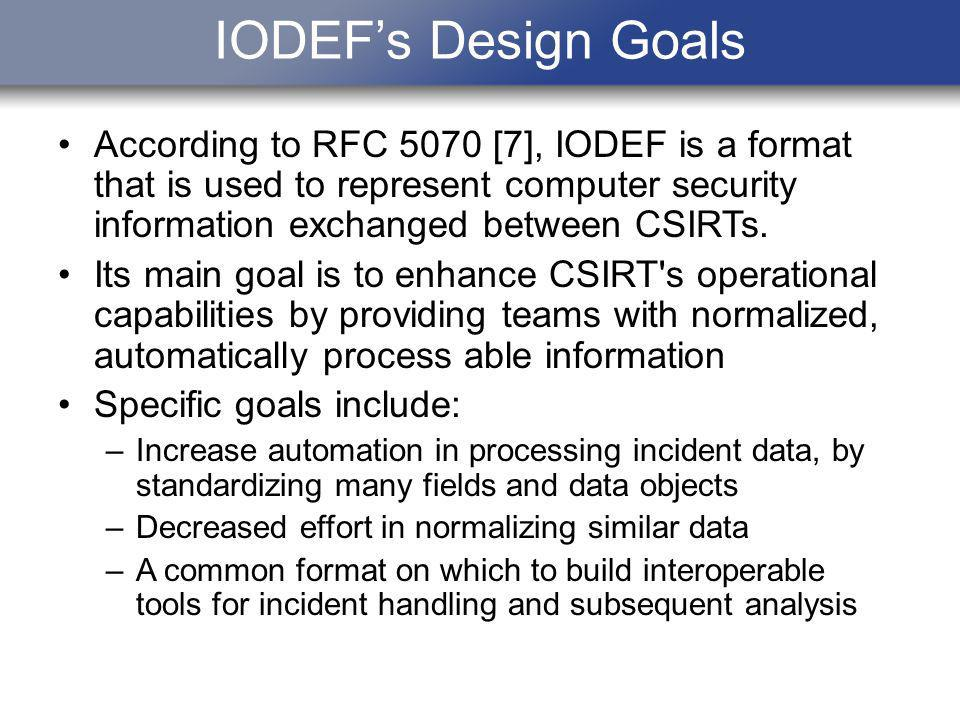 IODEFs Design Goals According to RFC 5070 [7], IODEF is a format that is used to represent computer security information exchanged between CSIRTs. Its