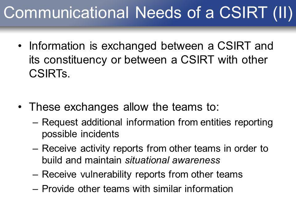 Communicational Needs of a CSIRT (II) Information is exchanged between a CSIRT and its constituency or between a CSIRT with other CSIRTs. These exchan