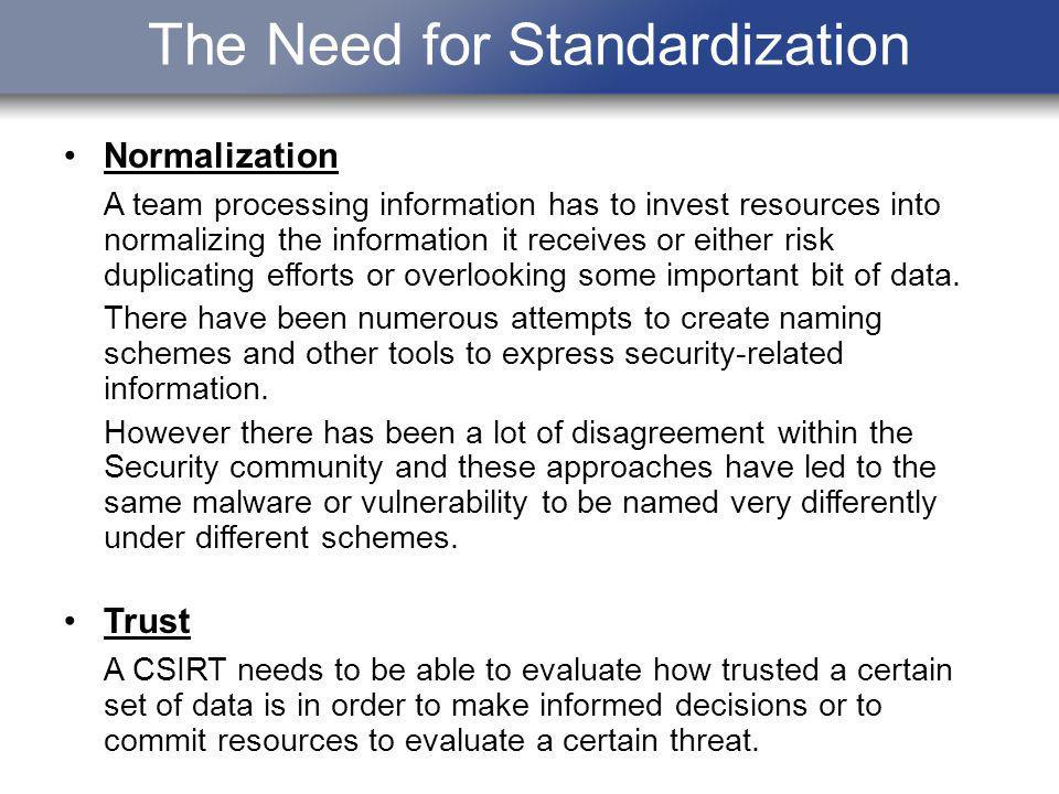 The Need for Standardization Normalization A team processing information has to invest resources into normalizing the information it receives or eithe