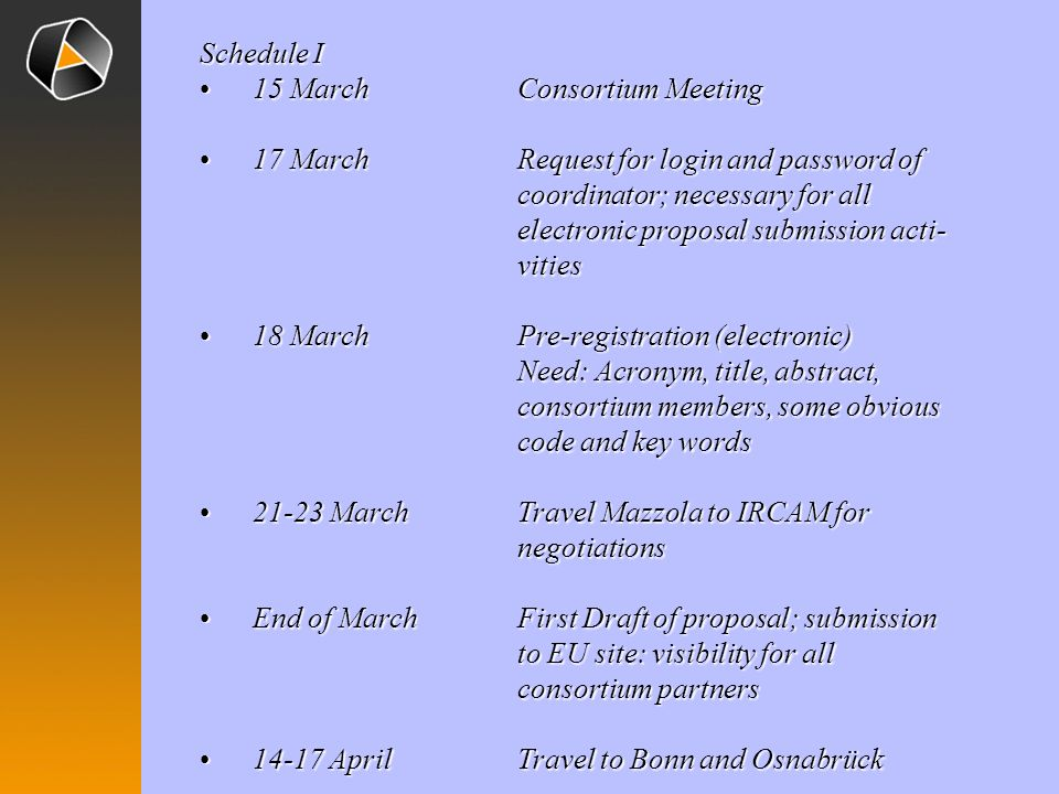 Schedule I 15 MarchConsortium Meeting15 MarchConsortium Meeting 17 MarchRequest for login and password of coordinator; necessary for all electronic pr