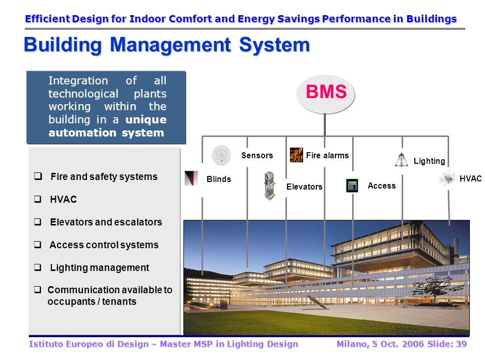 BMS technology Use of technology and process to create a building that is safer and more productive for its occupants and more operationally efficient