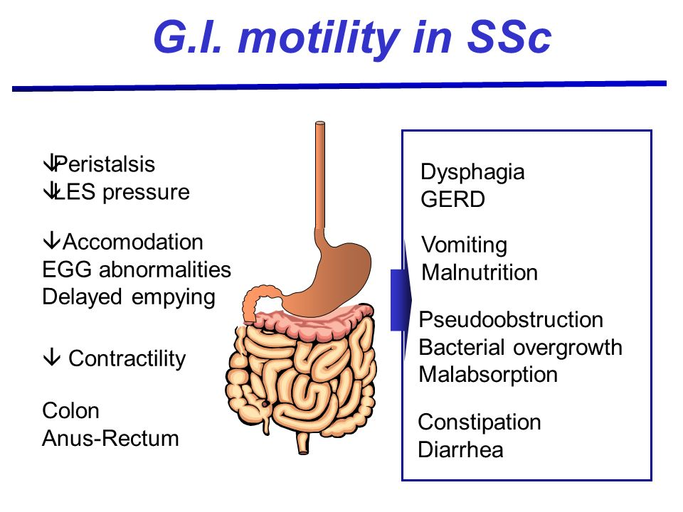G.I. motility in SSc Peristalsis LES pressure Accomodation EGG abnormalities Delayed empying Contractility Colon Anus-Rectum Dysphagia GERD Vomiting M