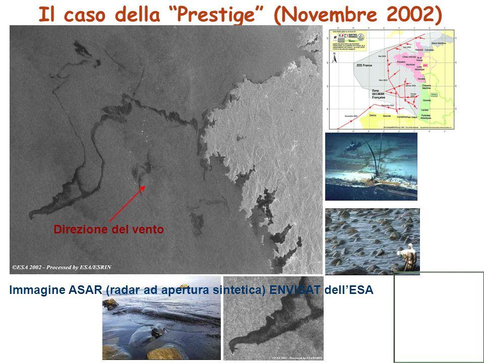 Il caso della Prestige (Novembre 2002) Immagine ASAR (radar ad apertura sintetica) ENVISAT dellESA Direzione del vento