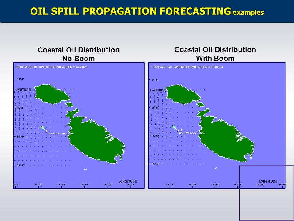 OIL SPILL PROPAGATION FORECASTING examples Coastal Oil Distribution No Boom Coastal Oil Distribution With Boom