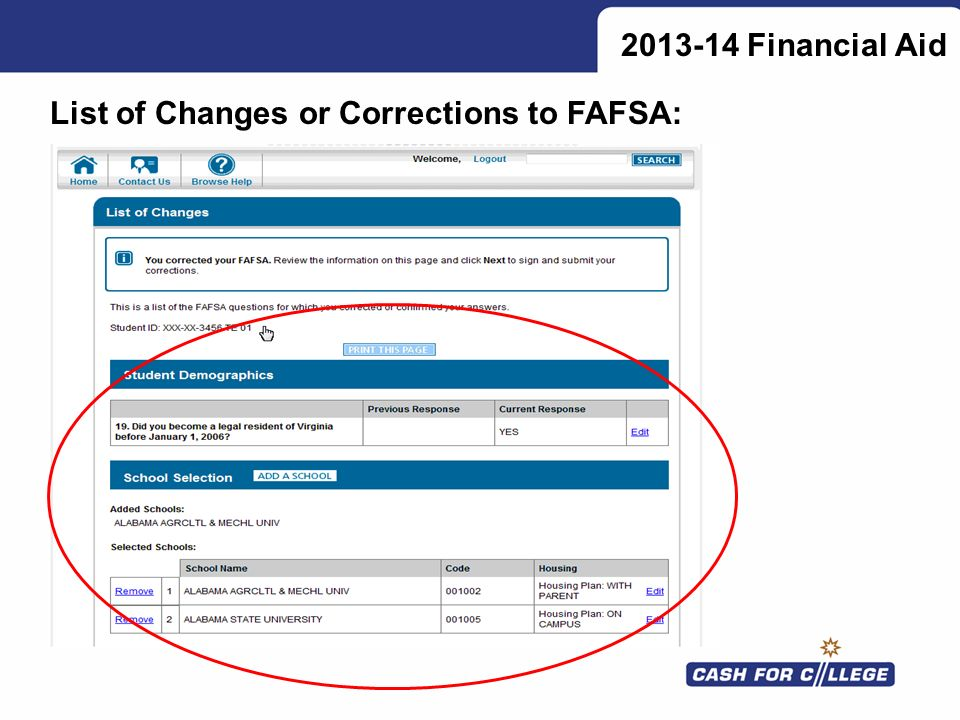 List of Changes or Corrections to FAFSA: 2013-14 Financial Aid