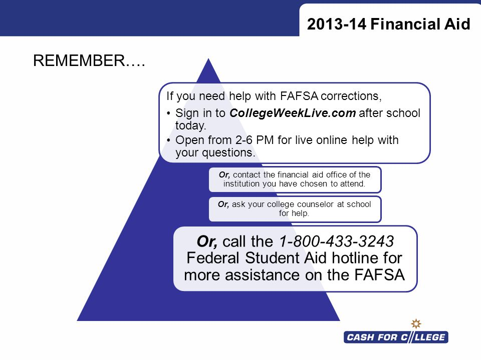 2013-14 Financial Aid If you need help with FAFSA corrections, Sign in to CollegeWeekLive.com after school today. Open from 2-6 PM for live online hel
