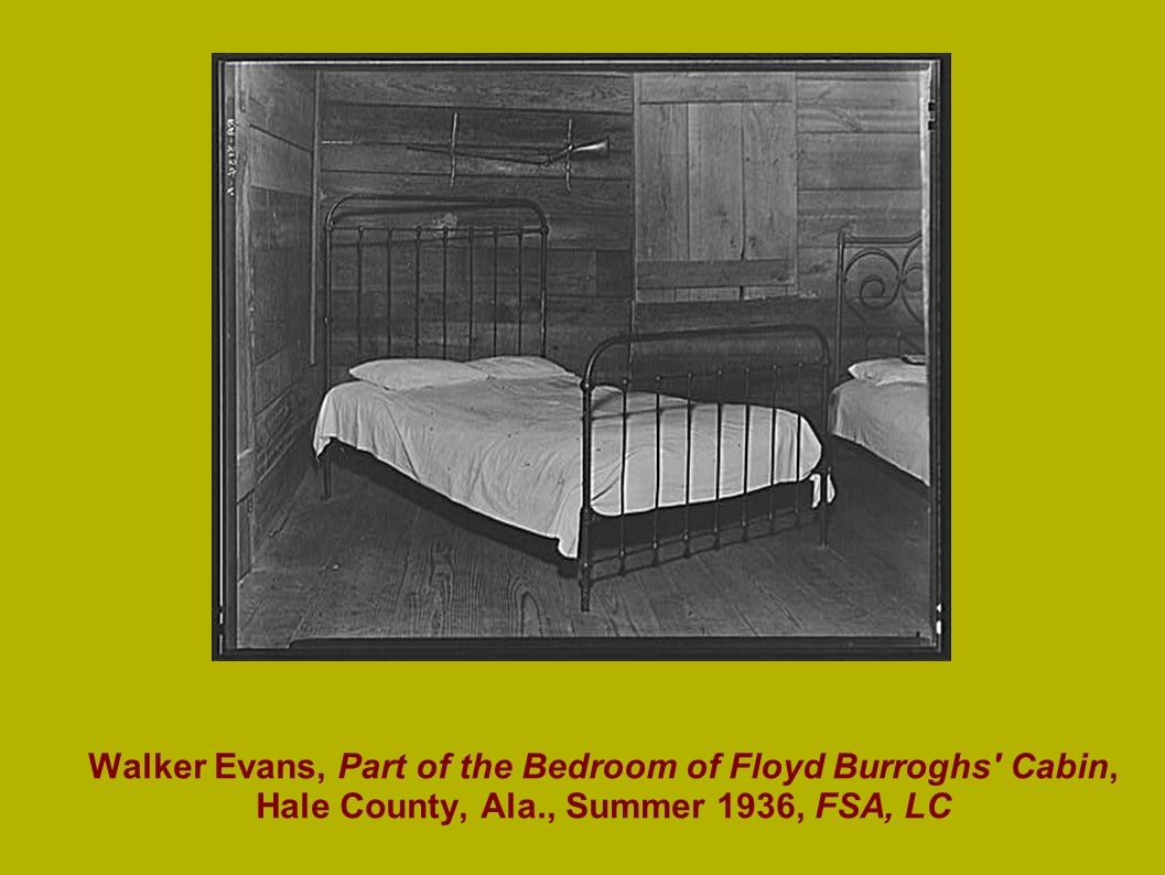 Walker Evans, Part of the Bedroom of Floyd Burroghs' Cabin, Hale County, Ala., Summer 1936, FSA, LC