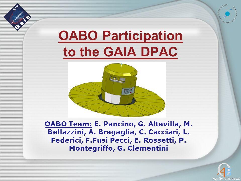 OABO Participation to the GAIA DPAC OABO Team: E. Pancino, G.