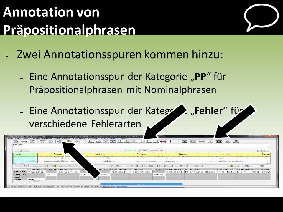 Annotation von Präpositionalphrasen Zwei Annotationsspuren kommen hinzu: – Eine Annotationsspur der Kategorie PP für Präpositionalphrasen mit Nominalp
