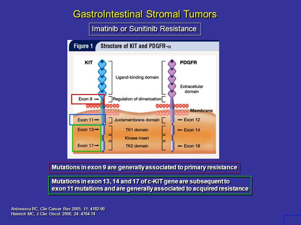 GastroIntestinal Stromal Tumors Imatinib or Sunitinib Resistance Antonescu RC, Clin Cancer Res 2005; 11: 4182-90 Heinrich MC, J.Clin. Oncol. 2006; 24: