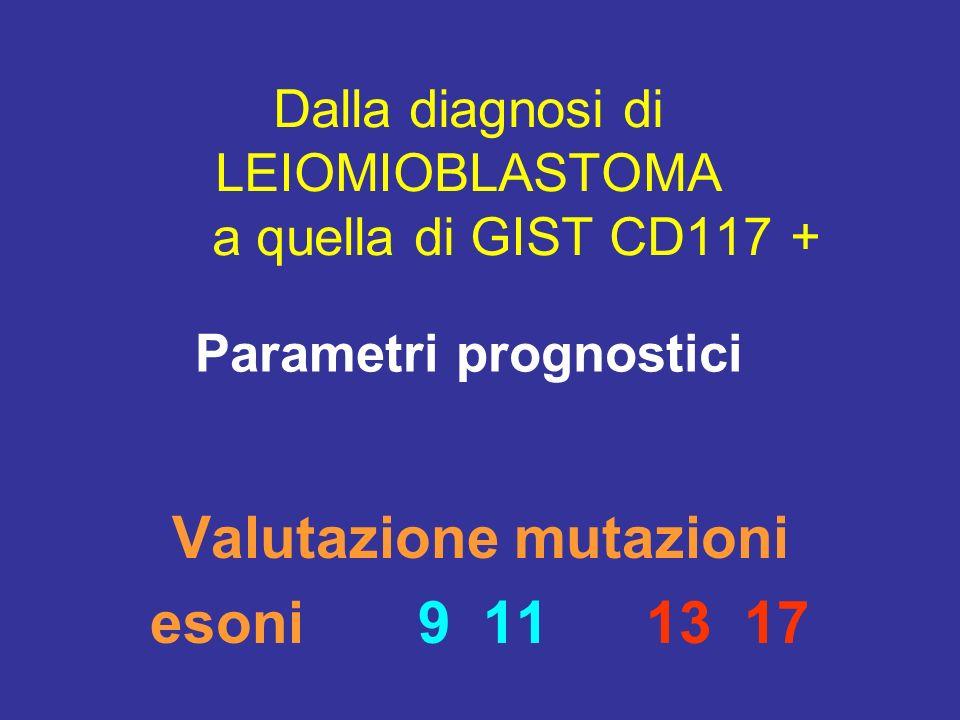 Dalla diagnosi di LEIOMIOBLASTOMA a quella di GIST CD117 + Valutazione mutazioni esoni 9 11 13 17 Parametri prognostici