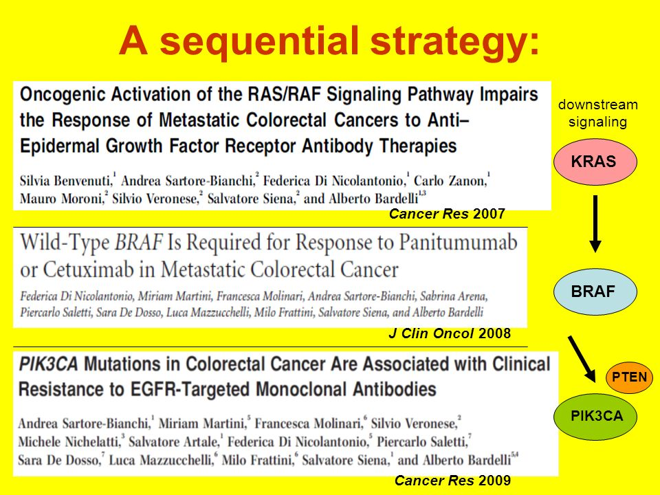A sequential strategy: KRAS Cancer Res 2007 J Clin Oncol 2008 Cancer Res 2009 BRAF PTEN PIK3CA downstream signaling