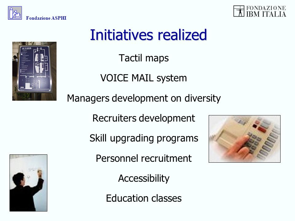 Initiatives realized Tactil maps VOICE MAIL system Managers development on diversity Recruiters development Skill upgrading programs Personnel recruitment Accessibility Education classes Fondazione ASPHI
