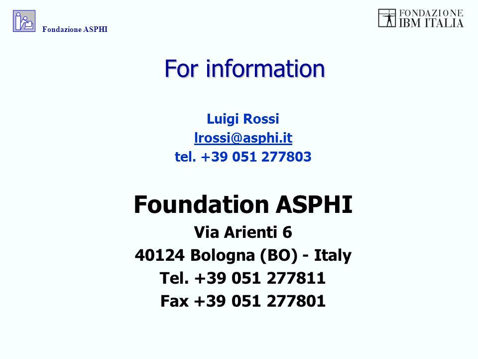 For information Luigi Rossi lrossi@asphi.it tel. +39 051 277803 Foundation ASPHI Via Arienti 6 40124 Bologna (BO) - Italy Tel. +39 051 277811 Fax +39