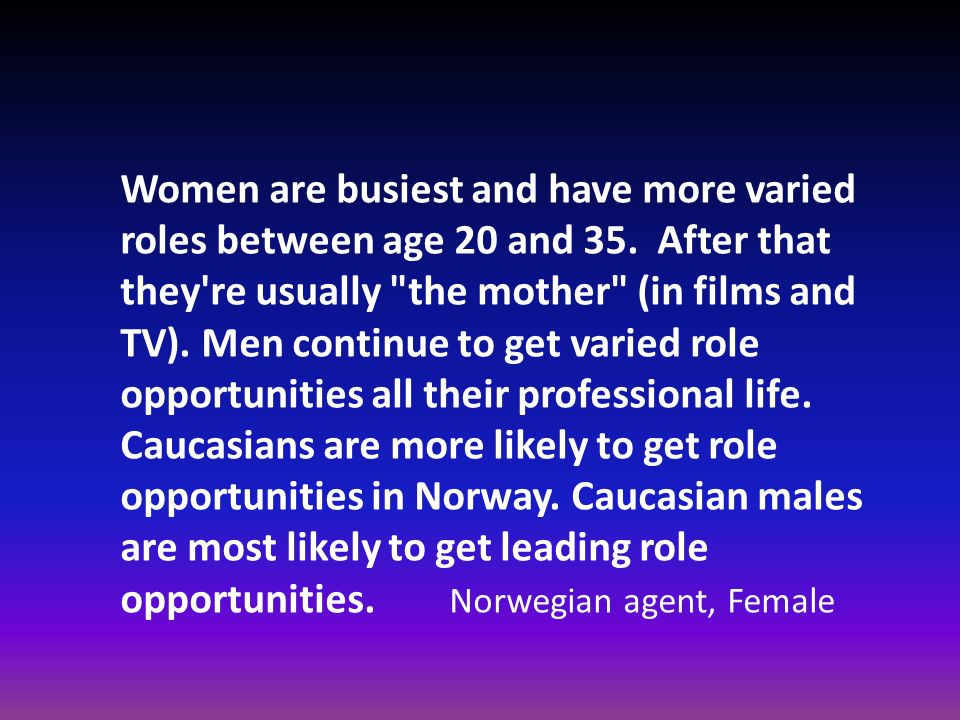 Women are busiest and have more varied roles between age 20 and 35. After that they're usually