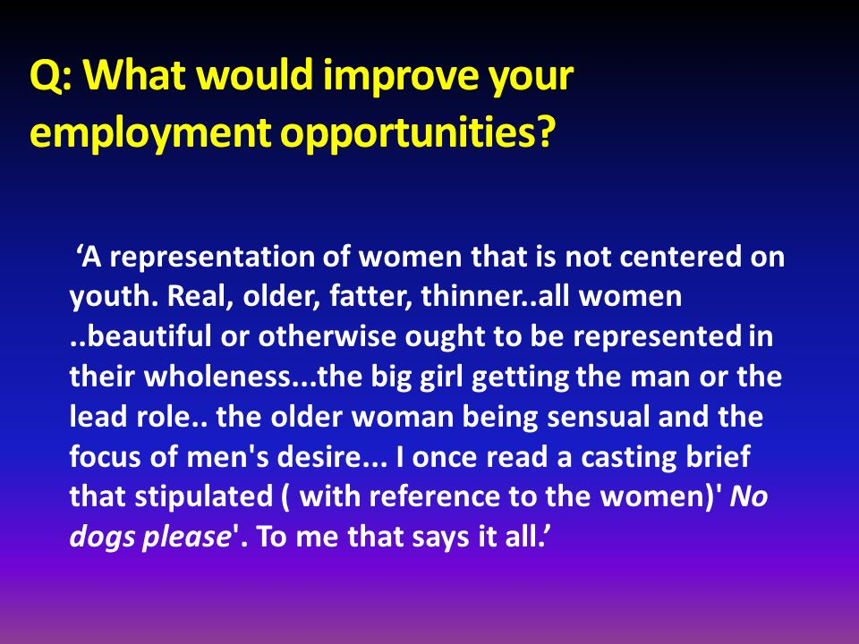 Q: What would improve your employment opportunities? A representation of women that is not centered on youth. Real, older, fatter, thinner..all women.