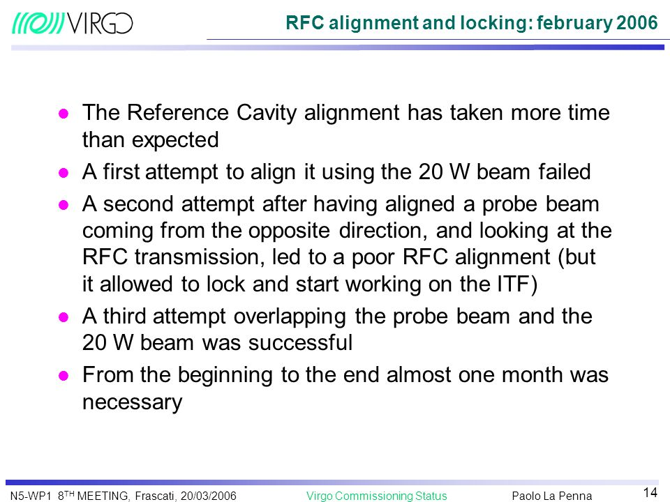 Paolo La Penna Virgo Commissioning StatusN5-WP1 8 TH MEETING, Frascati, 20/03/2006 14 RFC alignment and locking: february 2006 l The Reference Cavity