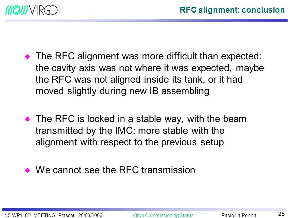 Paolo La Penna Virgo Commissioning StatusN5-WP1 8 TH MEETING, Frascati, 20/03/2006 25 RFC alignment: conclusion l The RFC alignment was more difficult