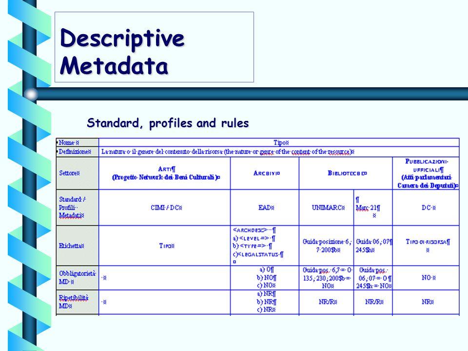 Descriptive Metadata Standard, profiles and rules