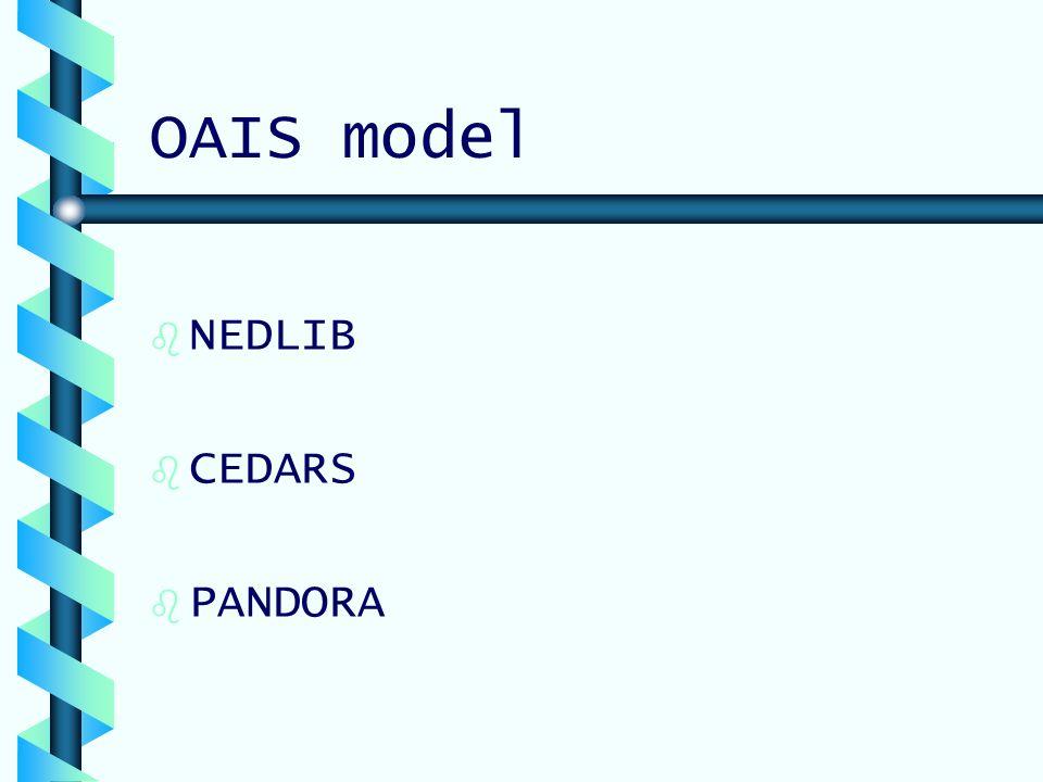 OAIS model b b NEDLIB b b CEDARS b b PANDORA