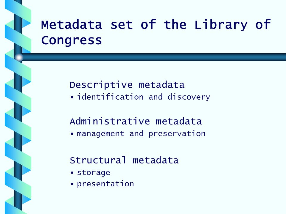 Metadata set of the Library of Congress Descriptive metadata identification and discovery Administrative metadata management and preservation Structural metadata storage presentation