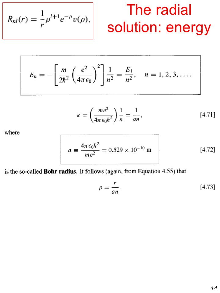 14 The radial solution: energy