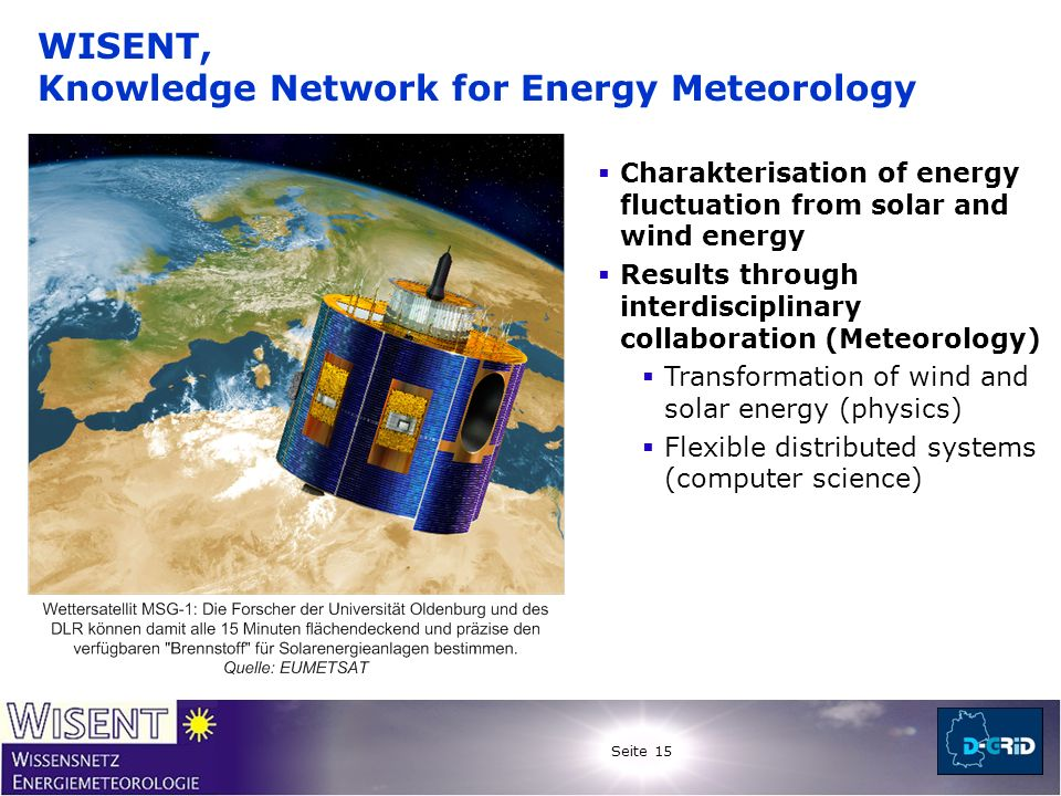 Seite 15 WISENT, Knowledge Network for Energy Meteorology Charakterisation of energy fluctuation from solar and wind energy Results through interdisci