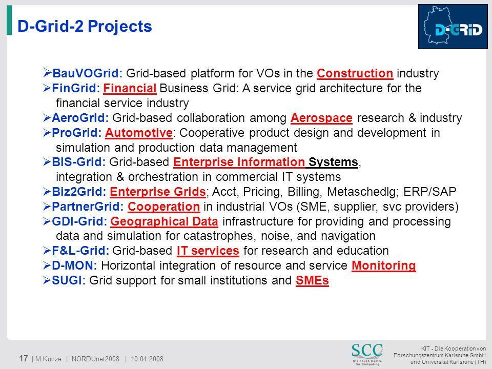 KIT - Die Kooperation von Forschungszentrum Karlsruhe GmbH und Universität Karlsruhe (TH) 17 | M.Kunze | NORDUnet2008 | 10.04.2008 D-Grid-2 Projects B