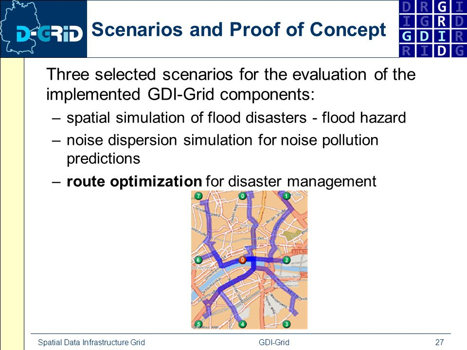 Spatial Data Infrastructure Grid GDI-Grid 27 Scenarios and Proof of Concept Three selected scenarios for the evaluation of the implemented GDI-Grid co