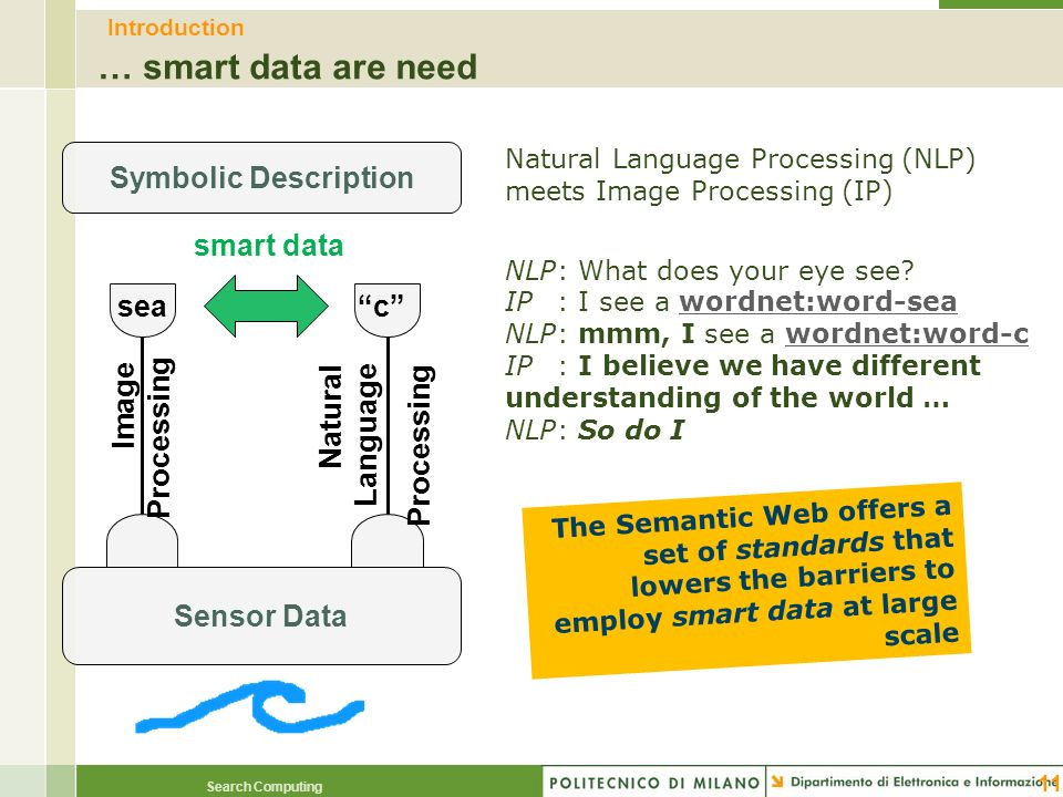 Search Computing Introduction … smart data are need 11 Sensor Data Symbolic Description Image Processing Natural Language Processing seac smart data N