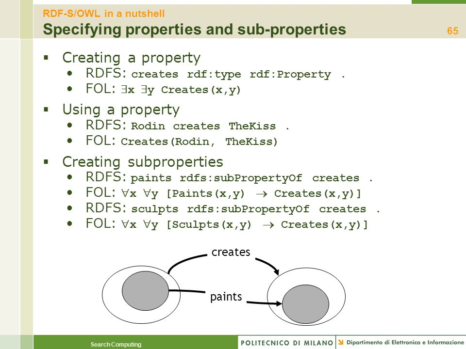 Search Computing Creating a property RDFS: creates rdf:type rdf:Property. FOL: x y Creates(x,y) Using a property RDFS: Rodin creates TheKiss. FOL: Cre
