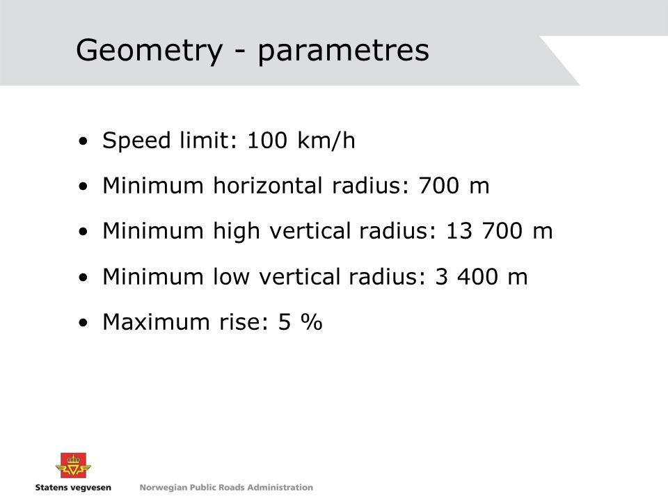 Geometry - parametres Speed limit: 100 km/h Minimum horizontal radius: 700 m Minimum high vertical radius: 13 700 m Minimum low vertical radius: 3 400