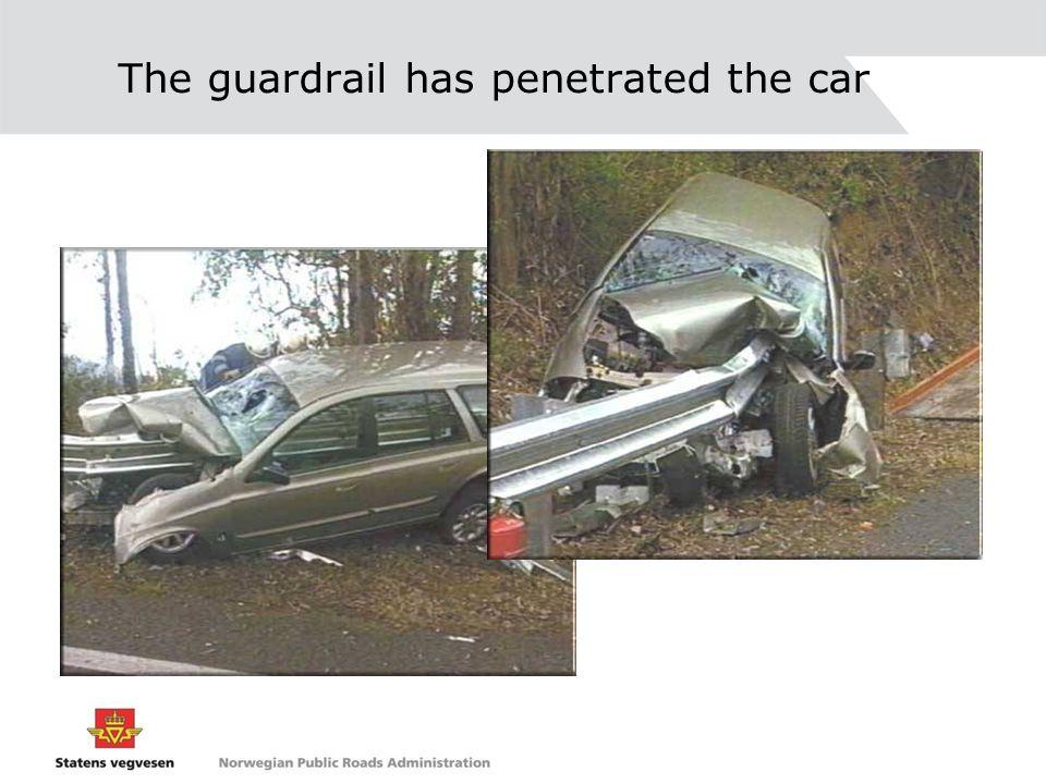 The guardrail has penetrated the car