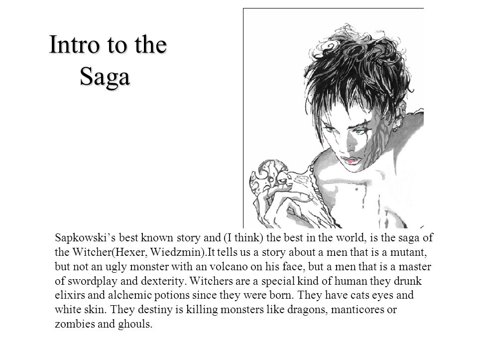 Intro to the Saga Sapkowskis best known story and (I think) the best in the world, is the saga of the Witcher(Hexer, Wiedzmin).It tells us a story abo