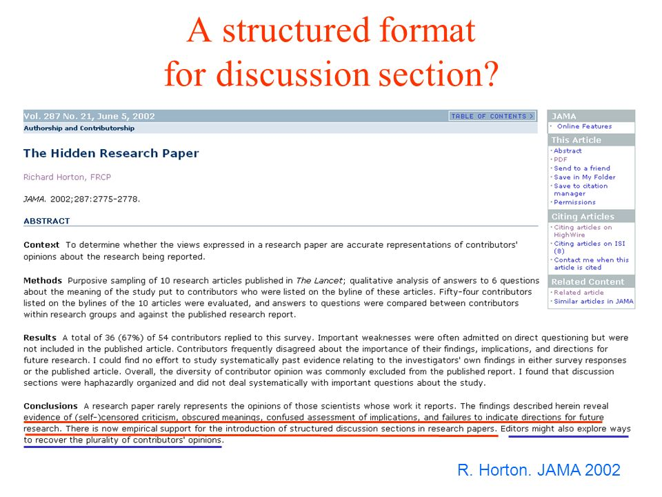 An example of postpublication criticism flaws R. Horton, JAMA 2002