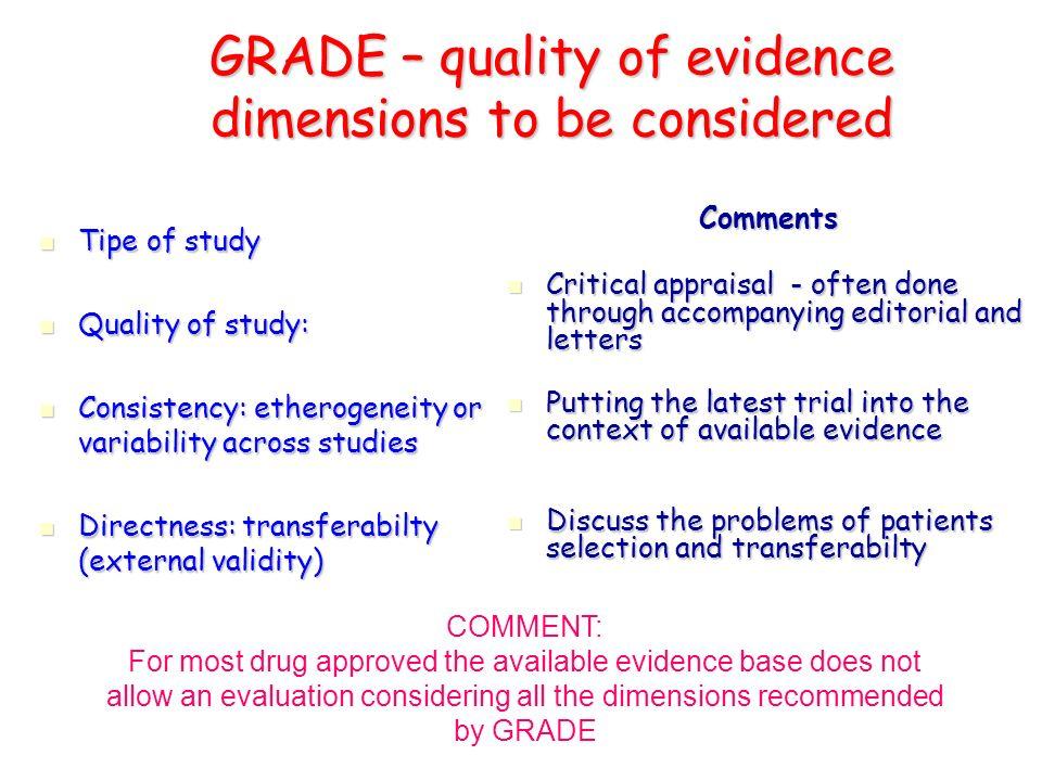 GRADE – qualità delle evidenze e forza delle raccomandazioni 1.