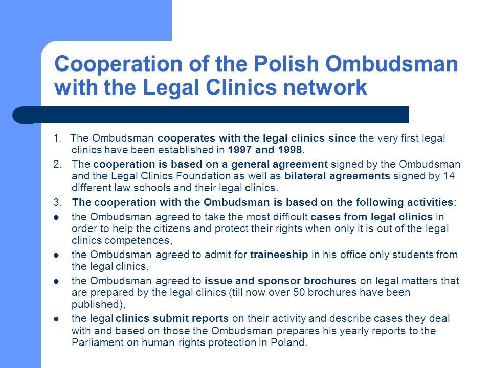 Cooperation of the Polish Ombudsman with the Legal Clinics network 1.