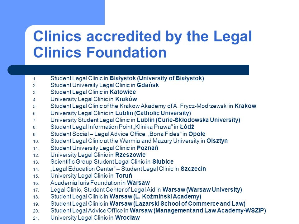 2009/2010 legal clinics activity in numbers 11 899 – cases were submitted to legal clinics between October 2009 and June 2010; 27 % (3214 cases) – were civil law matters; 1756 students and 216 supervisers worked in clinics; 1 teacher supervised the work of 8 students; 8 cases were solved by one student per year.