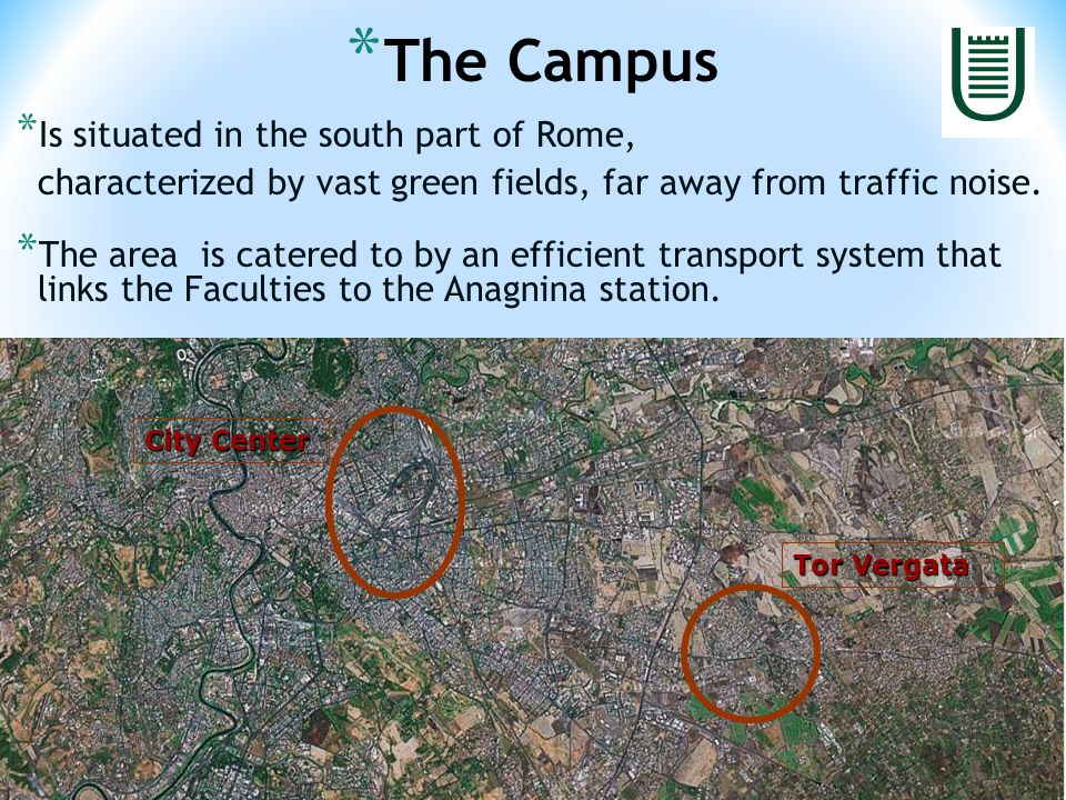 * Is situated in the south part of Rome, characterized by vast green fields, far away from traffic noise.