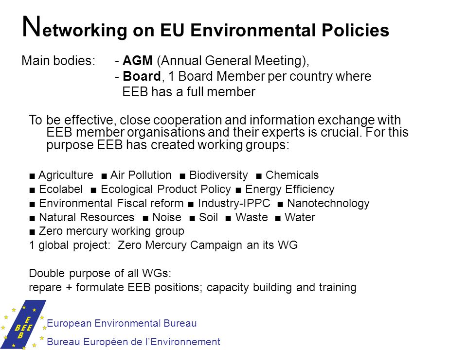 European Environmental Bureau Bureau Européen de lEnvironnement N etworking on EU Environmental Policies Main bodies: - AGM (Annual General Meeting),