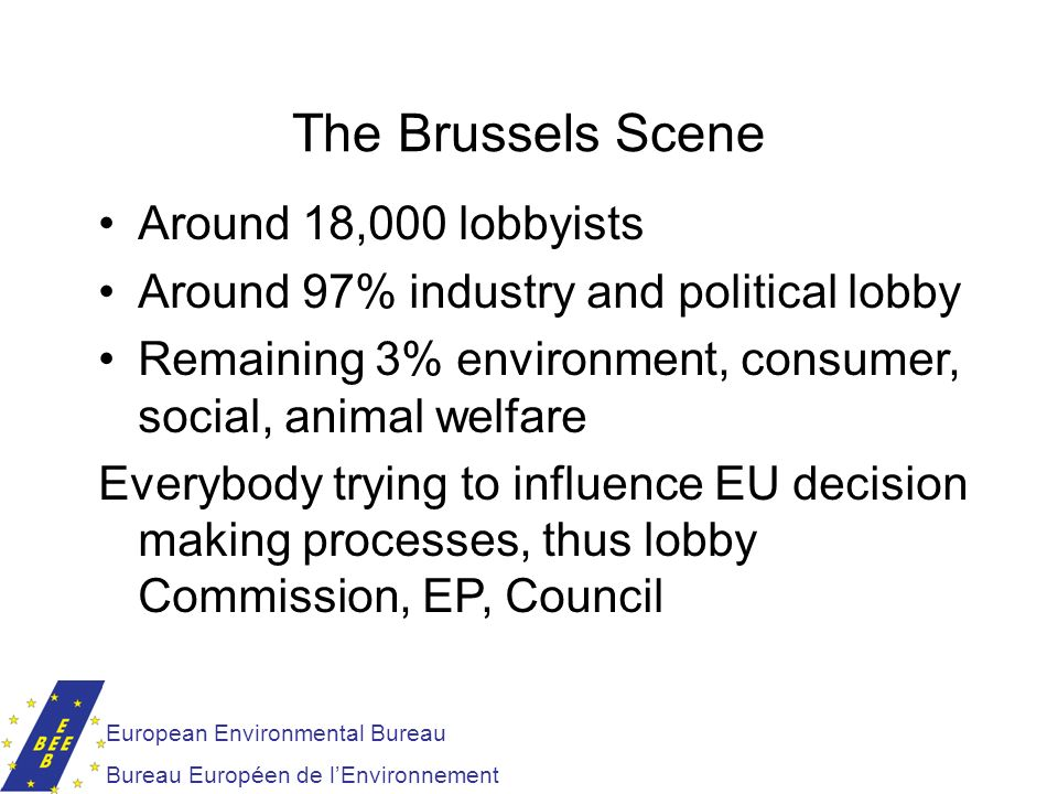 The Brussels Scene European Environmental Bureau Bureau Européen de lEnvironnement Around 18,000 lobbyists Around 97% industry and political lobby Rem
