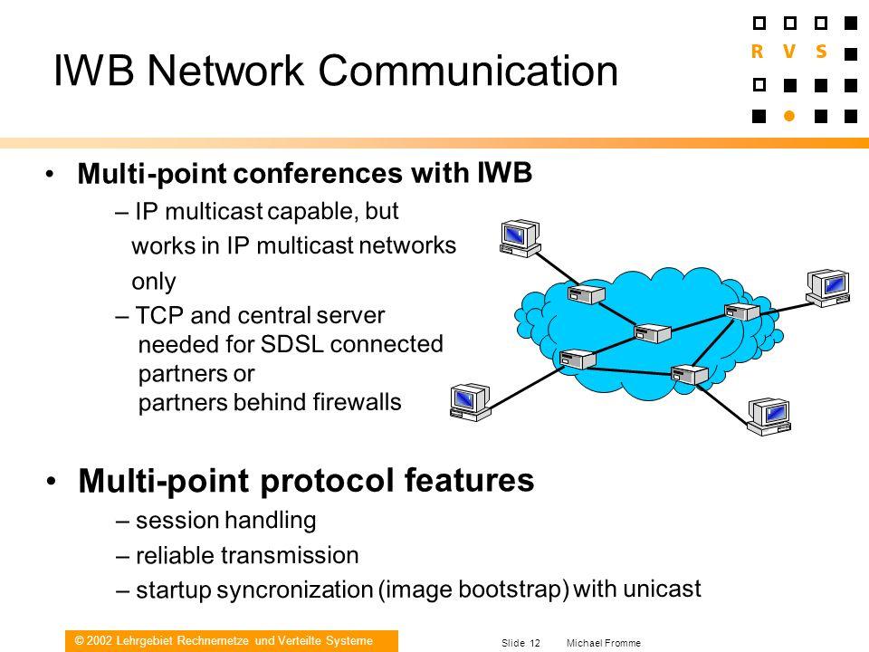© 2002 Lehrgebiet Rechnernetze und Verteilte Systeme Slide 12 Michael Fromme IWB Network Communication Multi-point conferences with IWB – IP multicast