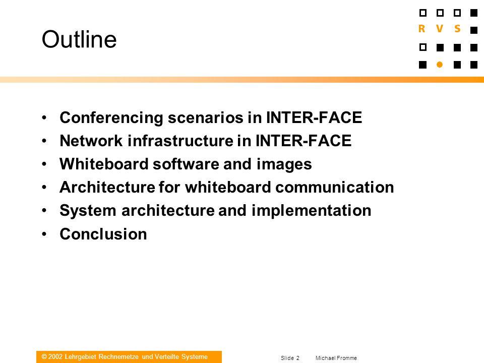 © 2002 Lehrgebiet Rechnernetze und Verteilte Systeme Slide 2 Michael Fromme Outline Conferencing scenarios in INTER-FACE Network infrastructure in INT