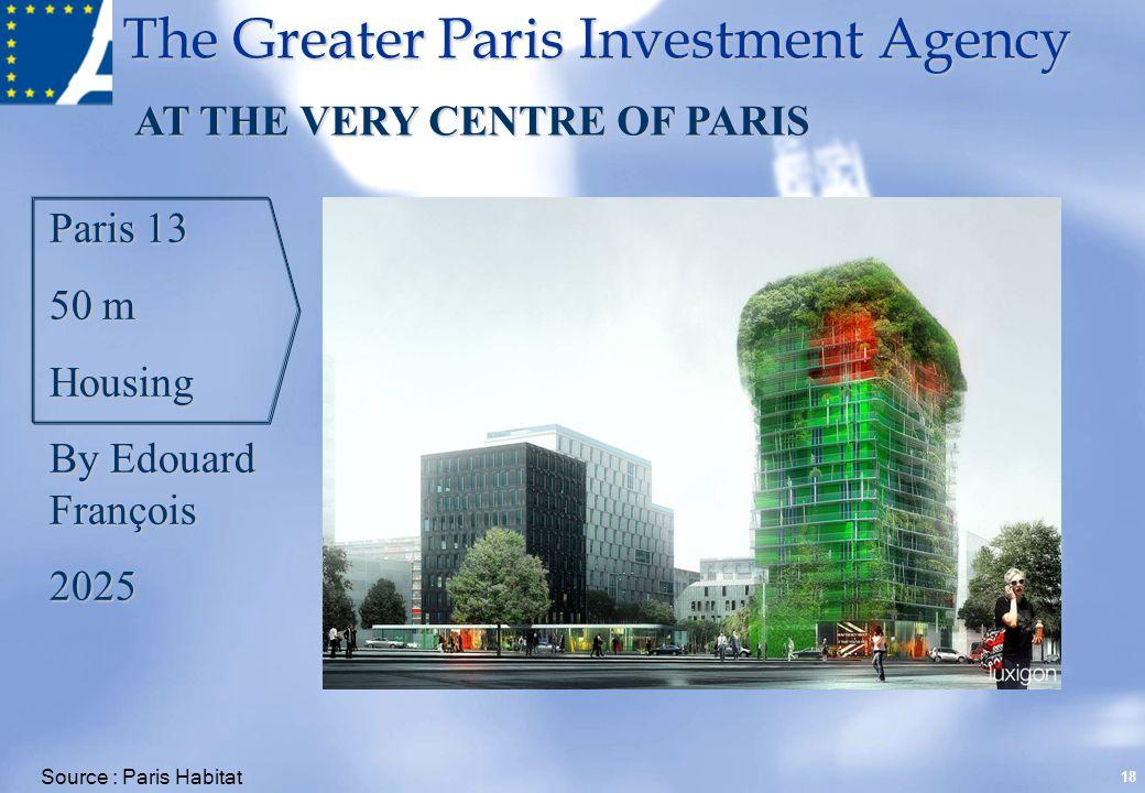 The Greater Paris Investment Agency 18 Paris 13 50 m Housing By Edouard François 2025 AT THE VERY CENTRE OF PARIS Source : Paris Habitat