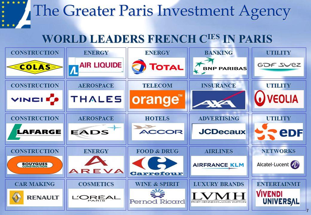 The Greater Paris Investment Agency CONSTRUCTIONENERGYENERGYBANKINGUTILITY CONSTRUCTIONAEROSPACETELECOMINSURANCEUTILITY CONSTRUCTIONAEROSPACEHOTELSADV